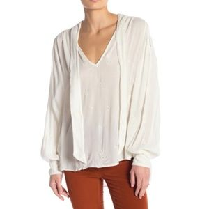 Free People Anthro Wishful moments tie neck top